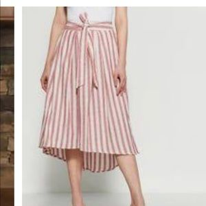 Max studio high low cream and red striped skirt XL